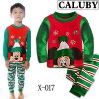 2014 autumn / winter Christmas Frozen 2-7T BABY kids Clothing 2 piece suit Pyjamas Pleasant mickey Cotton Homewear X-017