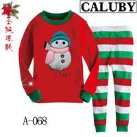 2014 autumn / winter Christmas Frozen 2-7T BABY kids Clothing 2 piece suit Pyjamas Pleasant santa claus Snowman Cotton Homewear