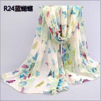 1pc 70*155cm  New Fashion design pretty butterfly printing Chiffon velvet woman scarves for Autumn & winter/WJ-032