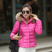 Real fur winter hooded down jacket women short paragraph Korean fashion waist down padded coat Hot