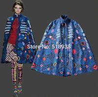 2014 New arrival autumn winter runway fashion women cape coats cloak poncho geometric patterns print stand collar outerwear coat