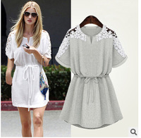 5845 New Autumn Dress Women Sexy Lace Floral Short Sleeve Casual Party Evening Mini Dress Vestidos