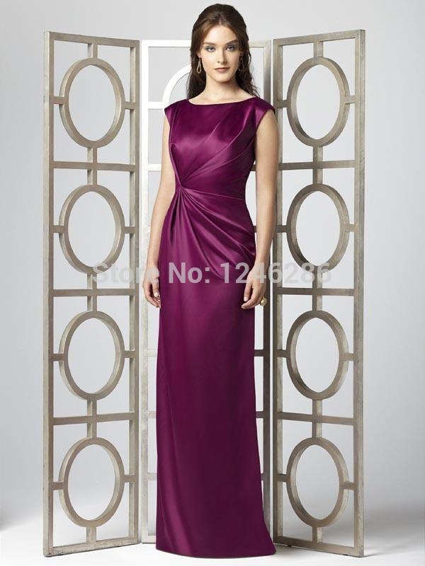 No Risk Shopping Hot sale 2014 New Modern Sheath/Column Jewel Floor Sweep/Brush Pick-ups Ruched Taffeta Evening Dresses pis20(China (Mainland))