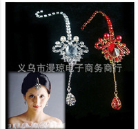30pcs/lot free shipping woman rhinestone pearl hair forehead inlaid tiara bridal wedding hairwear alloy white and red