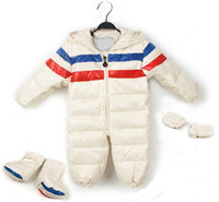 2014 New Baby Boys Romper 90% Down Outerwear Coat Jacket Hooded WaterProof Outfit Gloves Shoes Clothing set for boy newborn