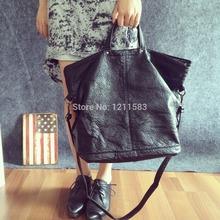 mulheres frete grátis grande saco de couro bolsa de ombro bolsa mulheres preto imitação carneiro moda tudo- jogo sacos feminino(China (Mainland))