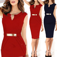 Women Summer Dress 2014 New Celeb Keyhole Tunic Business Elegant OL Party Pencil Evening Sheath Shift Dresses S-XXL Plus Size