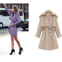 B910 XL-5XL Plus Size 2014 New Autumn Winter Fashion Slim Bodi European Style Belt Elegant Casual Women Lady Long Trench Coat