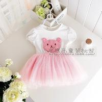 New summer children's clothing with short sleeves stereo princess baby bears bitter fleabane bitter fleabane gauze skirt