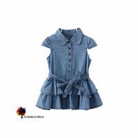 New Children Clothing Girls Summer Fresh  Cute Dots Denim Short-sleeved Dress Layered Cotton Baby Dress