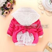 HOT- 2014 children's Lace hooded fleece winter jacket, children's wear cotton-padded jacket