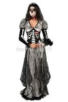Free shipping Super Deluxe Bone Yard Bride Costume 2014 Women Halloween Costume Wholesale 10pcs/lot Fancy dress 8838