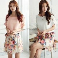 Women Summer Charming Crewneck Chiffon Short Sleeve Floral Casual Summer Dress 2014 Colors