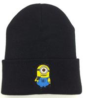 2014 new winter hat fashion beanie cartoon skullies Beanie Minions cap for women-men knitted beanies hip hop cheap black / gray