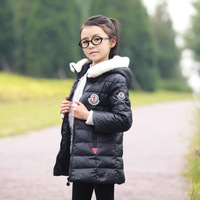 0013 Winter Children Outerwear  Girl'S Jackets Long 70% White Duck Down Parka Coat Fur Collar Fashion Brand Clothes For Teenager