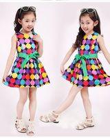 201 Big Size 100-150 Cm 2014 New Summer Autumn Party Princess Dot Belt Cotton Sleeveless Dress For Teenager Kid Girls Clothes