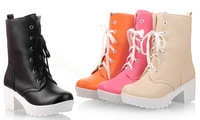 2014 women new fashion short martin boots 6cm thick heel high platform lace-up shoes candy color large plus size 40-43