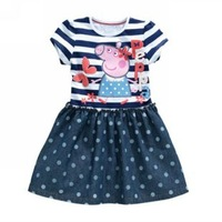 207 Summer Peppa Pig Party Short Sleeve Cotton Striped Dot Flower Print Dresses For Children Girls Baby / Kid Dress Cothes
