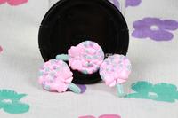 Wholesale lovely pink lollipop FlatBack Resins Scrapbooking Embellishment 50pcs