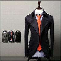 New 2014 Fall Winter Men Blazer Stylish double-breasted leisure Slim Men leisure Blazer Free Shipping Promotions