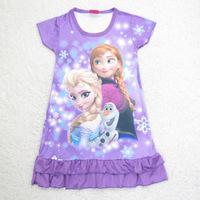 386 Princess Frozen Anna Elsa Dress Nightgown Short Sleeve Nightie Girls Pajamas Kid Fashion Costume Children Dresses Clothes