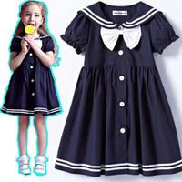 018 SHIJ cotton England college school uniform design fashion bow summer dress for children girls children's dresses costume