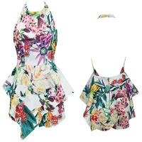 2014 New Fashion Summer Ladies Floral Printed Halter Irregular Hem Beach Rompers Womens Jumpsuit Women Playsuit Shorts Jumpsuits