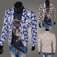 New 2014 Fall Winter Men Blazer Stylish printing leisure Slim Men leisure Blazer Free Shipping Promotions