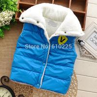 New 2014 Children Vest Letter Pattern Boys Vests Soft Warm Kids Waistcoat Baby Girls Winter Button Outerwear Child Clothes