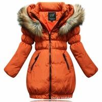 2815 brand 2014 winter children outerwear girls duck coat fur collar kid jacket trench down parkas big size 130-160 CM