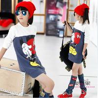 autumn 2014 new cute cartoon girls stretch dress shirt hedging