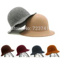 Winter Hats fashion Vintage 100% woolen hats & caps Wide Brim fedora felt hat bucket hat for women can adjustable size 56-58CM