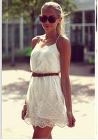 5855 2014 New Women Autumn Dress Chiffon Pure Color Flower Sleeveless Lace Spaghetti Strap Casual Party Dress Vestidos