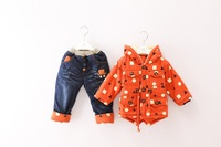 New Retail -  2014 Autumn   Baby Coat + pant  suit geometrical design windbreaker cotton-padded Clothes Newborn clothes Sets
