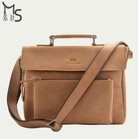 Guaranteed 100% genuine leather Men bag portable briefcase Crazy horsehide Grade Vintage New