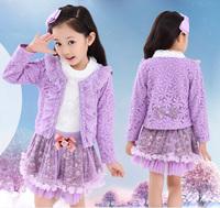 Children's suit Coat+T-shirt+dress three-piece  Princess skirt Korean Girl Fashion Bowknot  Purple Pink White dayhz026