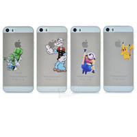 New Style 3D Cute Cartoon movie Transparent Hulk Popeye Despicable Me Yellow Minion Pikachu Phone Case Cover For Iphone 5 5S