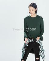 2014 new fashion women elegant pure color  falbala lower hem chiffon blouse Lady casual slim brand design shirt #J301