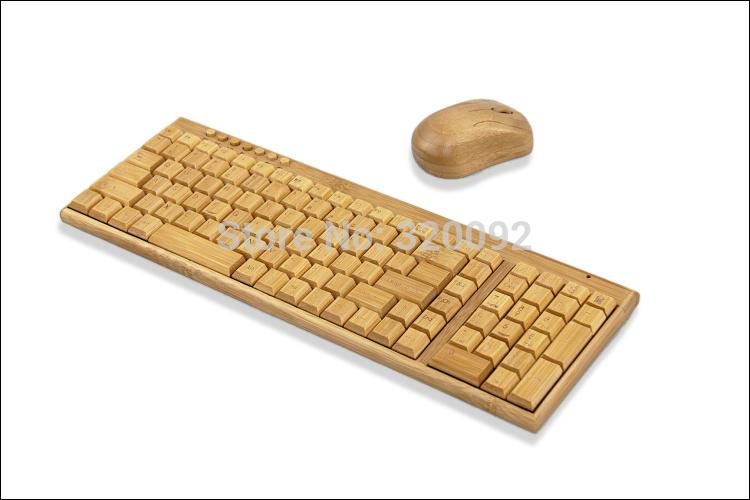 Universal Eco-Friendly Handmade Natural 2.4g Wireless Bamboo Keyboard + Mouse for PC Laptop bluetooth keyboard(China (Mainland))