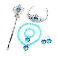 S002 Fashion Frozen Princess Anna Elsa Girls Magic Wand Crown Bracelet Necklace Earrings Jewelry Set Kid Accessories