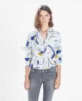 2014 new fashion women elegant flower printed back knot long sleeve blouse Lady casual slim brand design shirt #J305