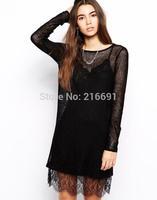 2014 New Fashion women sexy perspective two-piece dress Lace stitching party dress Lady slim brand design mini dresses #J303