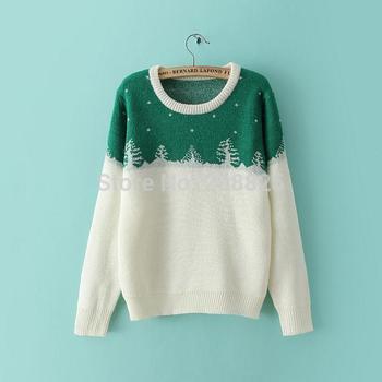 Корейский новый осень 2014 женская о-образным вырезом рождественская елка рисунок свитер, зима теплая шерсть одежда, свободного покроя трикотажные пуловеры, ILF-6717