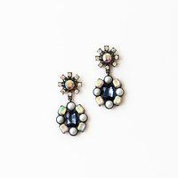Free Shipping Korea version of the blue glass jewel earrings ornaments vintage earrings glass earrings