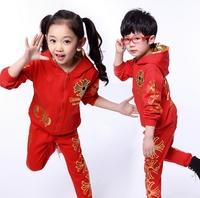 Children's suit 2014 new Coat+Pants two-piece Korean Girl Boy Fashion Blue Black Red Sport Autumn Spring dayhz027