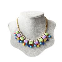 Free Shipping Ethnic colored gemstone beads necklace new fashion bohemia necklace statement necklace