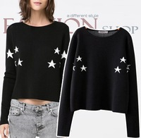 new arrival fashion 2014 women cropped sweater women long sleeve autumn winter vintage cotton stars print sexy pullover