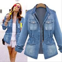 spring autumn New 2014 women coat slim Denim Jacket Jeans women clothing Fashion blazer pocket zipper casual female jackets