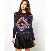 fashion 2014 autumn winter women casual geometric knitted sweater women european style warm long sleeve pullover