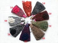 2014 New Retro Loop yarns Flower Women Knitted Headwrap Knitting wool crochet headband ear warmers For Girls Women 10 pcs/lot